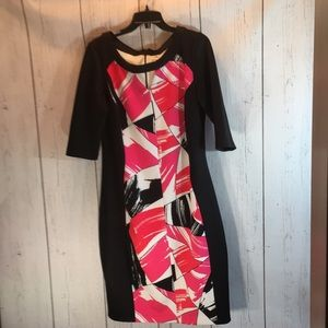 Black, pink and white dress